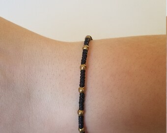 Macrame Bracelet with Brass Beads