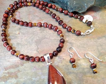 SET: TIGER EYE Red & Brown, Sterling Silver Necklace and Earring Set