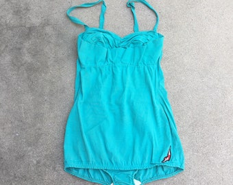 Vintage 50s Turquoise Blue Jantzen Swimsuit Womens Medium