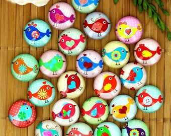 Set of 24 cabochons 16mm glass, birds, sparrows naive, ZC50