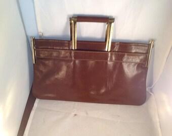 Vintage brown leather Lakemont clutch top handle handbag