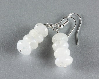 Rainbow Moonstone Stack Earrings, Moonstone and Sterling Silver, June Birthstone, Bridal Earrings