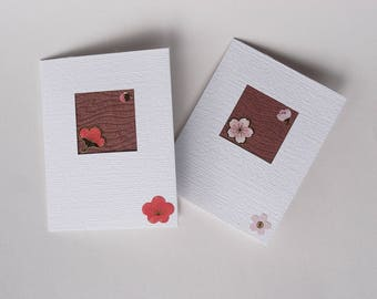 2 x blossom cards Ume Sakura Cherry Plum, vintage Japanese silk, Spring time Easter greetings card pink red gold