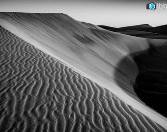 Maspalomas Beach Gran Canaria Photography Print - Sand Dunes Canary Islands Desert - Black & White Landscape Photograph Photo - Wall Art