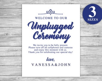 Unplugged Ceremony DIY Printable - Instant Download - 3 Sizes