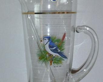 Vintage West Virginia Glass Blue Jay/Cardinal Martini/Drink Mixer, Glassware, Barware, Original Sticker