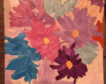 Colorful flowers-oil paint on cardboard
