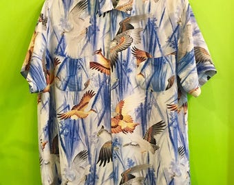 RESERVED FOR HEATHER 50s Penneys Hawaiian Rayon Eagle Asian Print M
