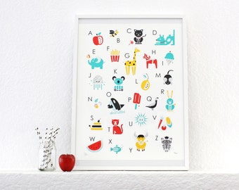SALE! Alphabet Print, Poster, Screenprint, Nursery Art, Kids Room
