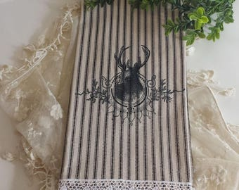 Deer Christmas Towel Black Ticking Kitchen Tea Cotton Striped Stag Head Lace Trim Christmas Decor Holidays Housewarming Hostess Gift French