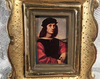 Vintage 23 K Gold Leaf Wood Miniature Portait- Hand Carved in Mexico