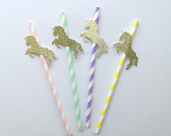 Unicorn Party Straws in Pastels and Glitter Gold