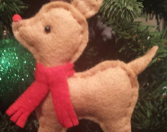 Rudolph Reindeer Handsewn Felt Ornament