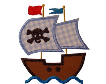 "Pirate Ship with Waves Appliques Machine Embroidery Designs Applique Patterns in 3 sizes 4"", 5"" and 6"""
