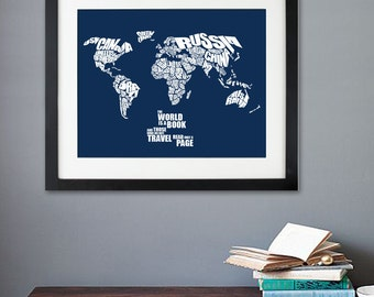 The World is a Book - World Word Map with Travel Quote Map, Nursery or Child Bedroom, Birthday Gift, World Typography Poster, Home Decor Map