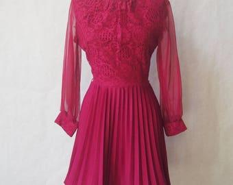 Vintage 60s 70s Merlot Accordion Pleated Mini Dress size xs, small