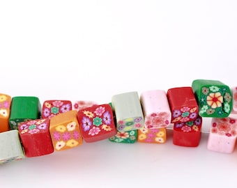 SALE 320 Beads - WHOLESALE - Clay Cube Beads - Assorted Flower Pattern - 5-7mm - 5 Strands - Ships IMMEDIATELY from California - B558