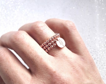Ring rose gold with silver rings beads and medal ring is plated rose rings stacked several rings ring rose pink beads