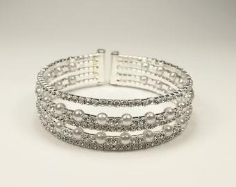 Wedding Bracelet Bridal Bracelet Wedding Jewelry Crystal Bracelet 5 Layers Bracelet Cuff In Gift Box
