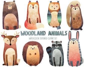 Watercolor Woodland Animals Clipart - Cute Animal Clip Art Set - Watercolor Print, Nursery Decor Digital Download