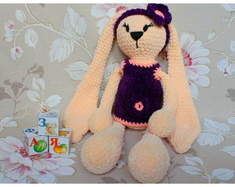 Bunny knitted toy handmade, crochet toy Amigurumi