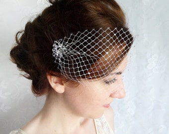 birdcage veil with crystals, small birdcage veil, mini birdcage veil bandeau -SPRINKLED SPARKLES- bridal headpiece, wedding hairpiece