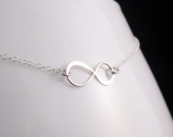 SALE Silver Infinity Necklace, Sterling Infinity Charm Necklace, Mothers Day Gift, Bridesmaid Bridal Party, Anniversary Gift