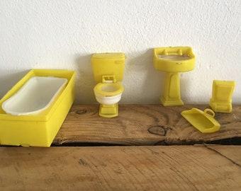Dollhouse plastic yellow bathroom set including toilet cute miniature