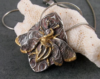 Honey bee pendant, handmade recycled fine silver, 22k yellow gold bee necklace-OOAK Art Nouveau jewelry