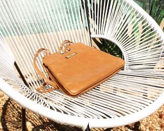 Vintage Light-Cognac Leather Shoulder Bag