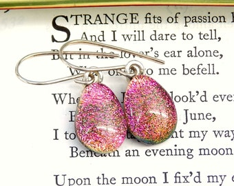 Pink Dichroic Glass Teardrop Earrings, Fused Glass Jewellery, Pink With a Hint of Gold Art Glass Dangle Earrings on Sterling Silver Wires