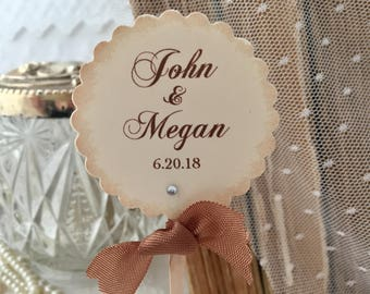 Personalized Wedding Cupcake Toppers, Wedding Toppers, Name and Date Food Picks