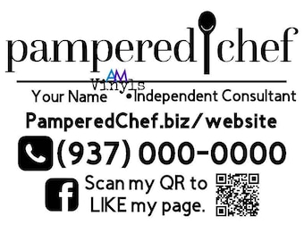 Pampered Chef car decal, large sticker, QR Code, Window sticker, distributor, consultant Car advertisment