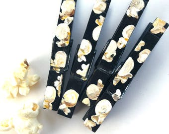 POPCORN CLOTHESPINS hand painted clothespin magnets chip clip movie party favor