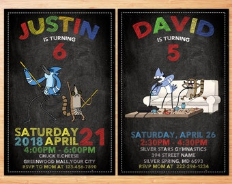 Regular Show Invitation, Regular Show Birthday Invitation, Regular Show, Regular Show invite, Gaming Party, Regular Show Printable, Games