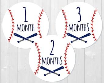 Baseball Baby Milestone Stickers - Monthly Baby Stickers, Monthly Milestone, Baby Shower Gift, Baby Photos, Monthly Bodysuit Stickers