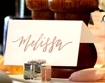 Rose Gold Wedding Name Cards | Wedding Calligraphy | Custom Wedding Place Cards | Event Table Cards | Wedding Decorations | Wedding Signs