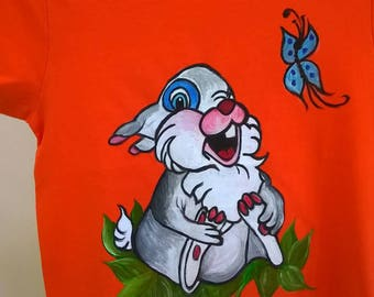 Free hand painted cotton t-shirt,