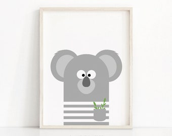 Koala Nursery Print, Animal Nursery Art, Kids Print, Digital Download, Animal Print, Wall Art Printable, Nursery Wall Art, Kids Room Decor