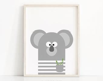 Koala Nursery Print, Animal Nursery Art, Kids Print, Digital Download, Animal Print, Wall Art Printable, Nursery Wall Art, Kids Room Decor