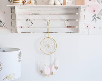 Gold and pink dream catcher, feather dream catcher