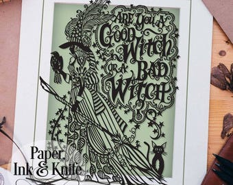 Papercut template, Are you a good witch or a bad witch? Wizard of Oz wall decal, Halloween,  Commercial Use Includes PDF, SVG and DXF files