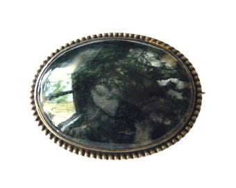 Antique Moss Agate Brooch Sterling Silver Setting