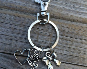 Heart Rose and Bow Charm Keychain, Rose Keychain, Flower Charm, Gift for her, Gift for mom, Gift for wife, Christmas gift, Stocking Stuffer