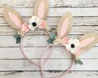 Woodland Headband, Some Bunny is One , Bunny Ears- Bunny Headband- Woodland Bunny Birthday - Woodland Animal Headband - Felt Flower Bunny