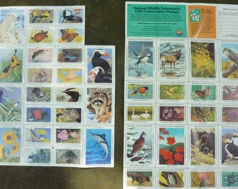 Vintage Animal Seals Stamps National Wildlife Federation 1983 1993 Gummed Ephemera Craft Supply Lot