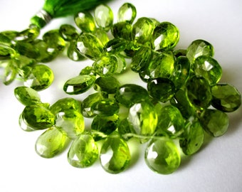Peridot faceted pear briolette- 8-10mm- 8 briolette