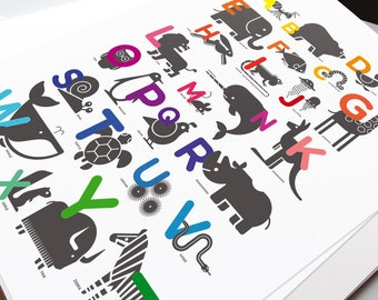 ABC Alphabet Poster for Kids Room or Baby Nursery - Modern Baby + Kids Wall Art