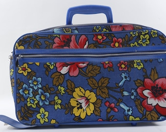 Blue, Suitcase, Bag, Plastic Handle, Flowers, Keys, Zipper, Design, Children, Collection, Vintage, ~ 170320C