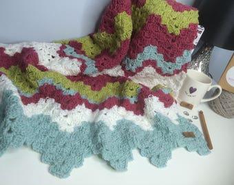 Vintage kitsch inspired beautiful baby girls crochet blanket. Handmade baby shower gift. Pram blanket